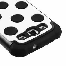 Samsung Galaxy S III 3 Rubber IMPACT HYBRID Case Phone Cover White Black Dots