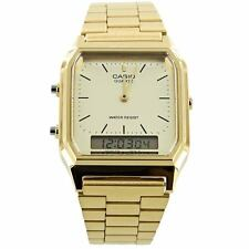 Casio New AQ-230GA-9D Gold Tone Retro Digital Analog Alarm Mens Watch AQ-230