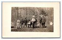 Group Photo Men Women Horses Guitar Wooded Area RPPC Real Photo Postcard