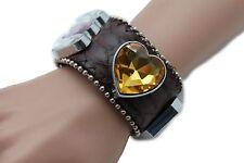 Women Brown Leather Bracelet Fashion Silver Rhinestone Beads Orange Purple Heart