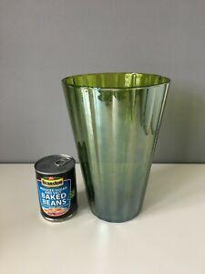 Large Green Glass Lustre Vase - 25.5cm Tall