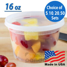 16 oz Heavy Duty Medium Round Deli Food/Soup Plastic Containers w/ Lids BPA free