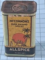 Vintage McConnon's Allspice Tin, Cardboard Sides, Nice Graphics. B12