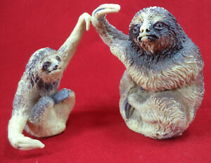 Pair of Three-Toed Sloth Figures Hard Plastic Model With Claws Posed for Hanging