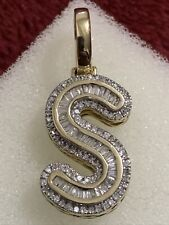 """10 kt yellow gold 3.3 Grams initial """" S """" diamond pendant 1 Inches"""