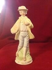 Vintage Porcelain Figurine Man Boy Basket Of Apples Gold Gilt Victorian Vgc