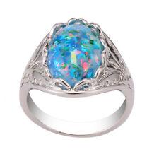 Men's 925 Silver Filled Rainbow Fire Opal Rings Blue Gems Simple Jewelry Sz6-10