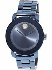 Analog Stainless Steel Watch Blue Dial Movado Bold 3600494 Women's Crystal Round