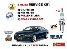 FOR AUDI A5 1.8 2.0 TFSi 2007-> SPARK PLUGS + OIL AIR POLLEN FILTER SERVICE SET