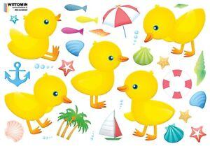Aufkleber Sticker Wandaufkleber Enten Tattoo Ente Duck Ducks Kinder Baby Bad WC