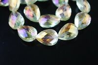 10pcs 18mm Faceted Crystal Glass Teardrop Charms Loose Spacer Beads Citrine