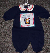 WINNIE THE POOH BLUE CHRISTMAS ONESIE, NEW WITH TAGS, SIZE 3-6 MONTHS.