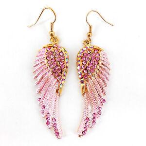 Lovely Pink Angel Wing 5.5cm Long Use Austria Crystal Dangle Earrings