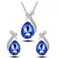 blu scuro Cristallo Lacrima Set Gioielli Orecchini a lobo & COLLANA S752
