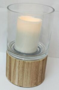 HomeReflections Glass Hurricane FlamelessCandle Holder with Wooden Base