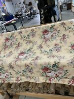 """Mill Creek Large  Cabbage Roses Drapery Fabric On Damask Print Background 54"""""""