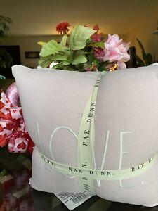 "RAE DUNN PINK Valentine LIVE 💕LAUGH 💕LOVE 11.5"" pillows set of 3💕"