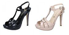 OLGA RUBINI scarpe sandali Estate da donna in vernice color Beige e Nero