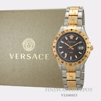 Authentic Men's Versace Hellenyium Brown Dial Two-tone Watch V11040015
