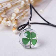Four Leaf Green Clover Crystal Ball Lucky Pendant Necklace St Patricks