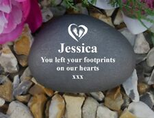 Personalised Pebble (Stone effect) Weatherproof - Memorial - Footprint Heart