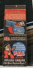 Vintage Matchbook Cover T3 Pal Blades Hollow Ground Master Barber's Shave In Hom