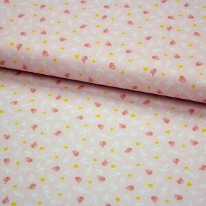 Stoff Baumwolle Popeline in the Forest Vögel Zweige rosa