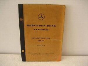 "MERCEDEZ-BENZ TYP 170 Da PARTS CATALOG ""A""  IN GERMAN 1950"