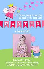 Personalised Peppa Pig Inspired George Dora Birthday Invitations Photo invites