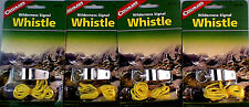 4 PACK WILDERNESS SIGNAL WHISTLE-METAL WITH LANYARD, INCLUDES MORSE CODE GUIDE