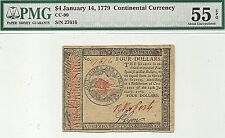 1779 $4 AMERICAN REVOLUTION CONTINENTAL CURRENCY - PMG ABOUT UNCIRCULATED 55 EPQ