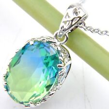Handmade Jewelry Bi-Color Tourmaline Gemstone Solid Silver Pendant Necklace