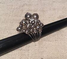 GAS Bijoux Vintage Sterling Silver Designer Signed Beaded Cluster Ring Size 5
