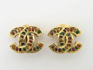 CHANEL 05P COLOR STONE CC LOGO CLIP ON EARRINGS EY868
