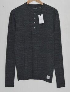 PAUL SMITH grey Henley Lounge Long Sleeve Tshirt loungewear top pyjama SMALL