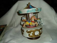 """Vintage Porcelain Musical """"Merry Go Round"""" Carousel 3 Horses Figurines"""
