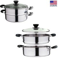 2 Tier Kitchen Stainless Steel Steamer Cooker Steam Cooking Pots Glass Lid Dorm