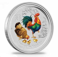 0,25 AUD 999 Silbermünze Perth Mint Lunar Hahn II 1/4 oz - Farbe - Coloriert