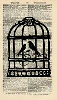 ORIGINAL - Caged Love Birds Print on Vintage Dictionary Page - Wall Art 226B