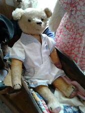 Antique Gold Mohair Teddy Bear w/ Shoe Button Eyes & Adorable Romper Suit