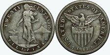 1913-S US/Philippines 20 Centavos ~ F/VF ~ Allen#11.09 ~ 75% Silver ~ MX97