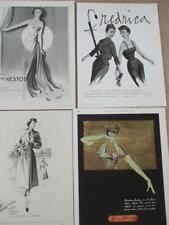 4 ADVERTS 1950s FASHION MODELS by MARY MARTIN MAY HUGO VOGUE QUEEN