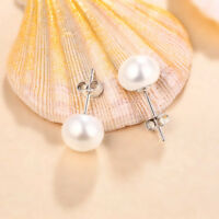 925 Sterling Silver Classic Genuine Freshwater Pearl Stud Earrings 8mm-10mm Gift