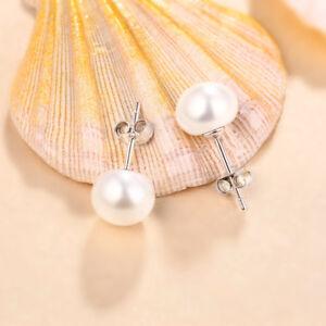 925 Sterling Silver Classic Genuine Freshwater Pearl Stud Earrings 8mm-10mm Gift