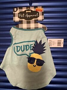 """Dog Tank Top Pup Dude Pineapple With Glasses Shirt Small 12-13"""" Pet Apparel"""