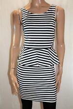 Dotti Brand White Navy Striped Peplum Dress Size 10 BNWT #SL33