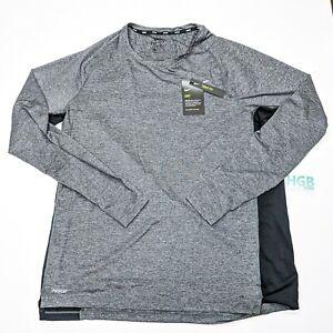 Nike Dry Long Sleeve T-Shirt Men's Training Sport Gym Grey Black CU4097-010