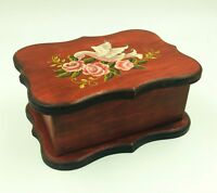 """Hand-Painted ROSEMALING Wooden Lidded JEWELRY BOX Swan & Roses Design 5"""" x 7"""""""
