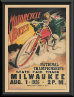 1926 National Motorcycle Races Poster Reprint On 100 Year Old Paper *244