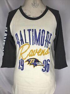 Baltimore Ravens NFL Junk Food Raglan Baseball Tee Women's T-Shirt MEDIUM